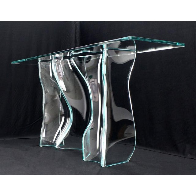 Outstanding Free-Form Molded Glass Wave Pattern Console Table For Sale - Image 4 of 10