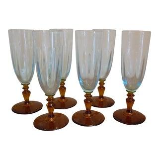 Blue & Amber Flute Glasses - Set of 6