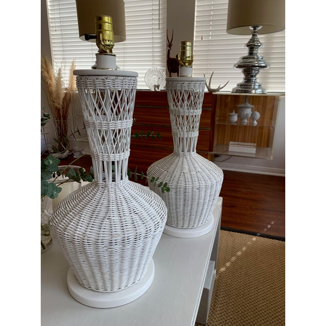 Boho Chic Wicker Rattan White Lamps - Pair For Sale - Image 3 of 10