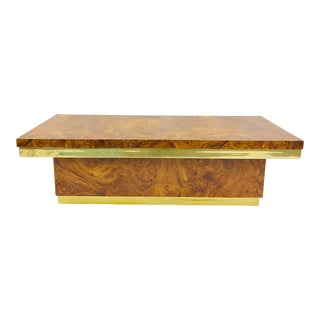 Vintage Burl & Brass Coffee Table For Sale