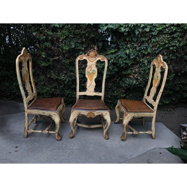 Late 18 C. Italian Carved and Handpainted Chairs - Set of 3 For Sale - Image 12 of 13