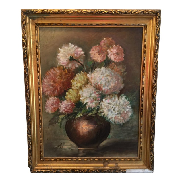 Vintage Chrysanthemums Botanical Painting For Sale