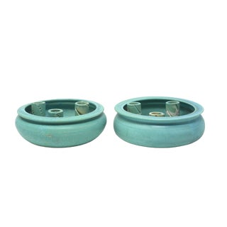 1991 Handmade Turquoise Pottery Ikebana Vases - a Pair For Sale