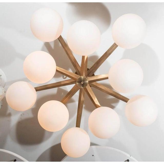 2010s Custom Antique Brass Ten-Globe Ceiling Light For Sale - Image 5 of 5