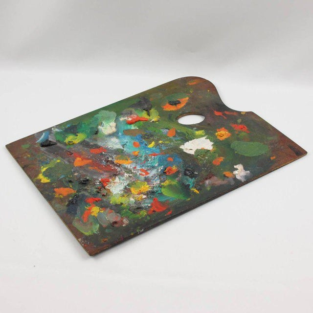 Arts & Crafts Mid-Century French Artist Painter Wood Paint Palette For Sale - Image 3 of 6