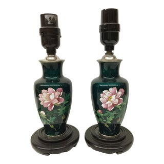 1960s Japanese Cloisonné Lamps - a Pair For Sale