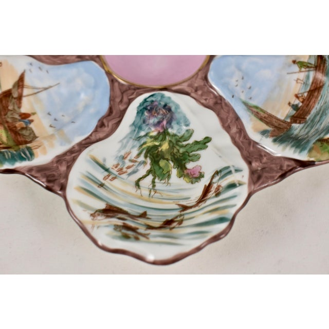 French Porcelain Hand-Painted Fishing Scene Oyster Plate For Sale - Image 10 of 13