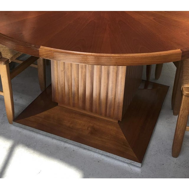 Art Deco Lucien Rollin Spectacular Pure Large Round Dining Table With Central Foot For Sale - Image 3 of 4
