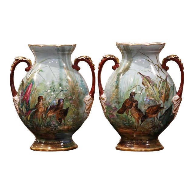 Pair of 19th Century French Painted and Gilt Porcelain Vases With Bird Decor For Sale