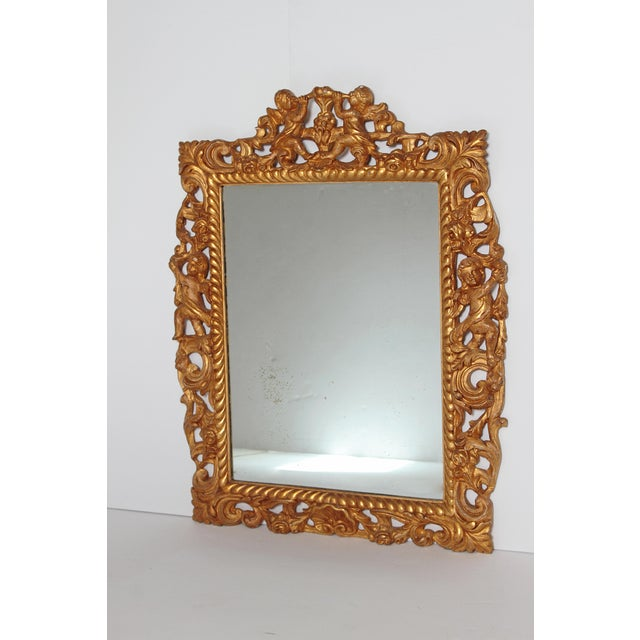 98263fb33360 Carved. English Traditional Late 17th Century English Charles II Gilt Wood  Frame With Mirror For Sale -
