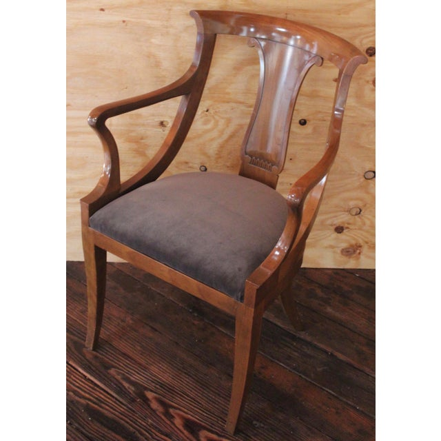 """Empire """"Chaise en Gondole"""" Fruitwood Baker Dining Chairs - Set of Four For Sale - Image 5 of 8"""