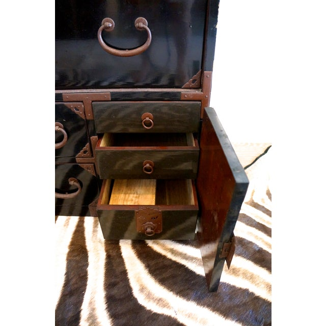 Vintage Black Lacquered Tansu Chest - Image 8 of 10