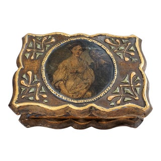 Vintage Florentine Italian Wood Keepsake Box with Portrait on Lid For Sale