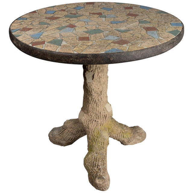 French Faux Bois Mosaic Tile Table For Sale - Image 11 of 11