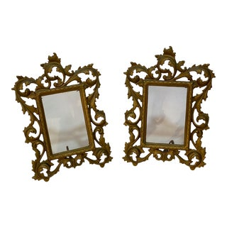 Rococo Style Gilded Foliate Picture Frames - a Pair For Sale