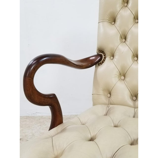 Mid Century Executive Leather and Wood Tufted Chesterfield Armchair For Sale In Los Angeles - Image 6 of 13