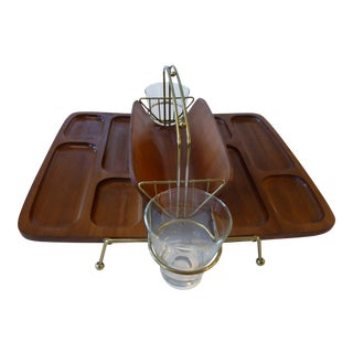 Mid-Century Modern Wooden Dual Appetizer Tray or Bar Caddy For Sale