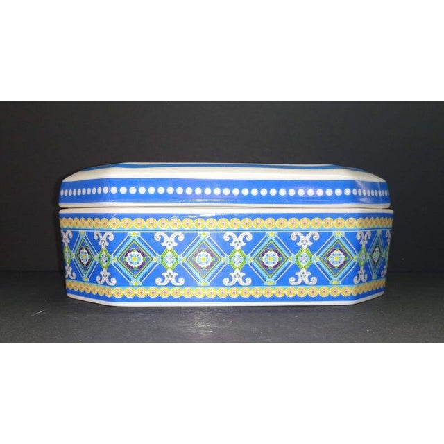 Lovely rectangle with cut corner ceramic box in the Capri Blue pattern by Andrea by Sadek for Vera Bradley, decorated with...