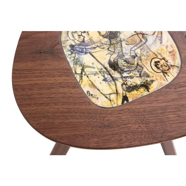 Black Four Lee Porzio & Allen Ditson Walnut Ceramic Side Tables For Sale - Image 8 of 11