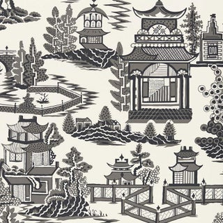 Sample - Schumacher Nanjing Chinoiserie Wallpaper in Smoke Grey Preview