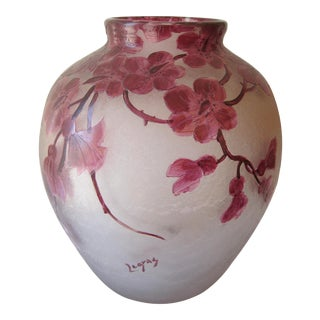 Antique Legras Frosted Cameo Glass Vase For Sale