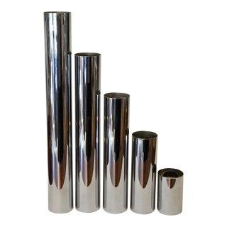 Mid-Century Modern Chrome Pillar Candleholders - Set of 5/