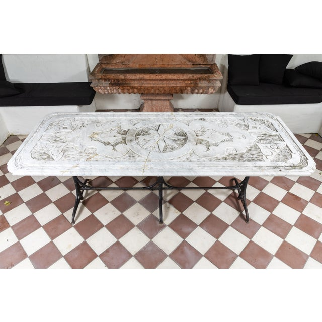 19th Century Castel Franco Hand Chiseled Marble Table with Iron Base For Sale - Image 4 of 12