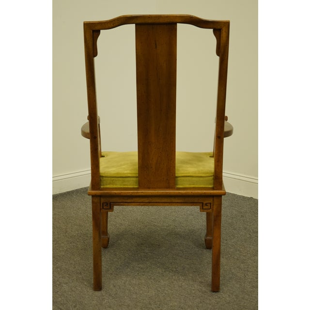 Wood Century Furniture Asian Inspired Chinoiserie Dining Arm Chair For Sale - Image 7 of 10