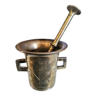 Solid Brass Vintage Mortar and Pestle For Sale