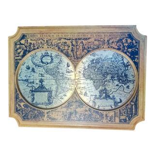 Vintag. Brass Framed Latin Atlas Design on Wood For Sale