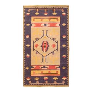 Vintage Mid-Century Medallion Flat Weave Cotton Rug - 2′10″ × 10′ For Sale