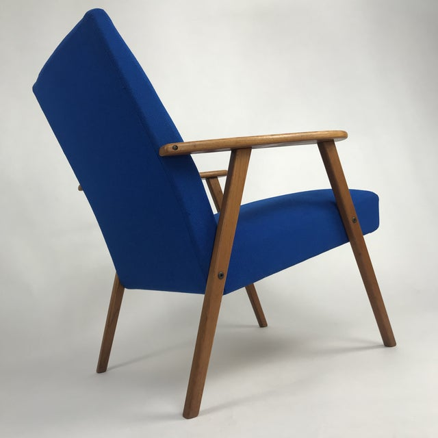 Royal Blue Swedish Modern Lounge Chair For Sale - Image 9 of 13