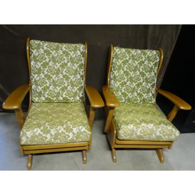 Beautiful matching pair of vintage rocking chairs. Love the vintage green fabric and the warm Martha Washington maple...