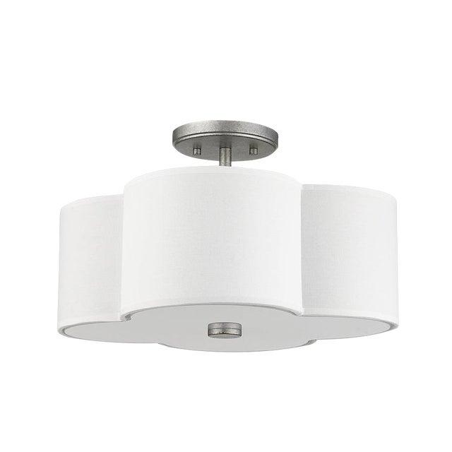 The Quatrefoil 3 Light Semi-Flush Ceiling, Aged Silver For Sale