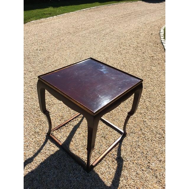 Piedouche Lacquer End Table with Grain De Café Gold Striping - Image 2 of 4