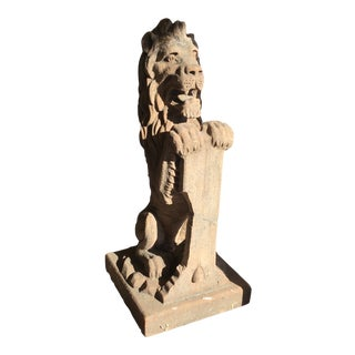 Lion Terra Cotta Architectural Piece For Sale