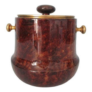 Aldo Tura Lacquered Goatskin and Brass Ice Bucket For Sale