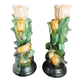 Vintage Majolica Large Vintage Bird Candle Holders - a Pair For Sale