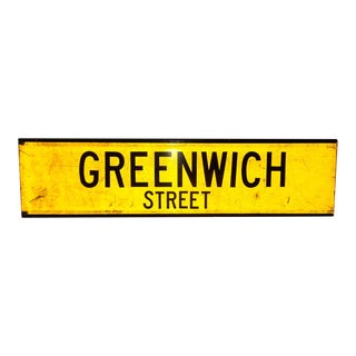 "1960s New York City Yellow Reflective Street Sign ""Greenwich St"" - Greenwich Village For Sale"