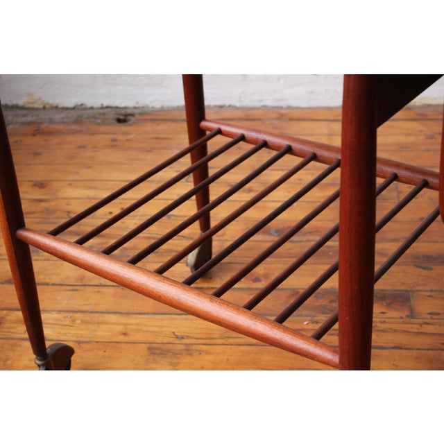 "1950s 1950s Scandinavian Restored ""Boomerang"" Solid Walnut Bar Cart For Sale - Image 5 of 10"
