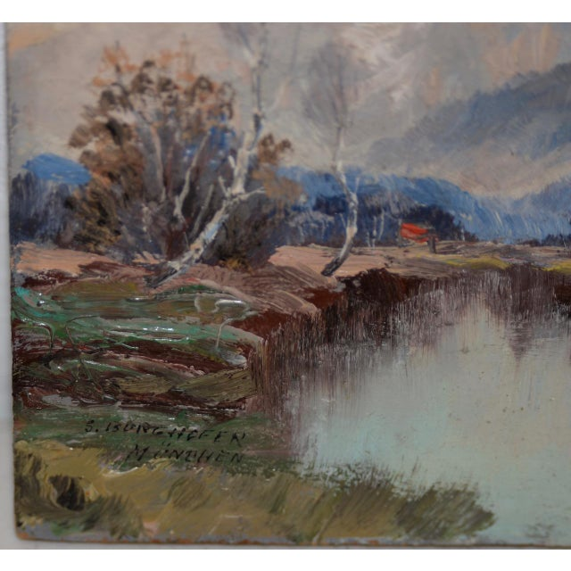 """Impressionism Wonderful Little """"Munchen"""" Mountain Landscape by Sepp Burghofer Early 20th C. For Sale - Image 3 of 5"""