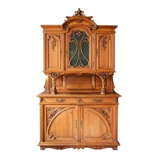 1878-1910 French Art Nouveau Hand-Carved Breakfront Server/ Sideboard For Sale