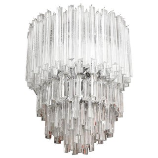 Cascading Italian Murano Venini Glass Prism Chandelier For Sale