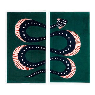 Zucchini the Snake by Willa Heart Trays - a Pair For Sale