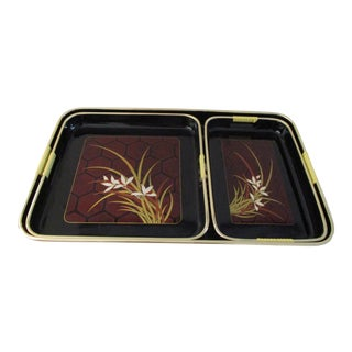Mid-Century Japanese Lacquerware Floral Nesting Trays, S/3 For Sale