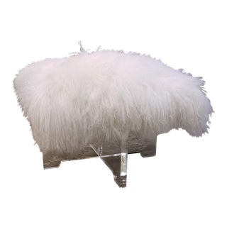 Jonathan Adler Mongolian White Lamb Fur Bench With Acrylic Base For Sale