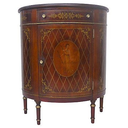1940's Mahogany Demilune Console Cabinet - Image 1 of 5