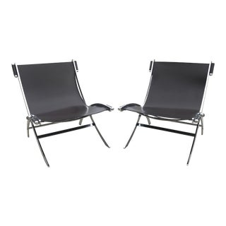 Modern Antonio Citterio for Flexform Italy Leather Sling 'Timeless' Chair- a Pair For Sale