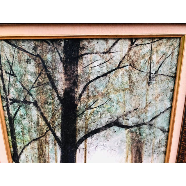 1970s Vintage Mid Century Era Tall Trees Forest Hand Painted Signed Framed Art For Sale - Image 5 of 13