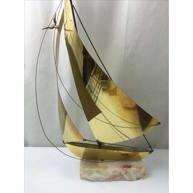 1960's Brass Ship Sculpture on Onyx Base - Image 6 of 9